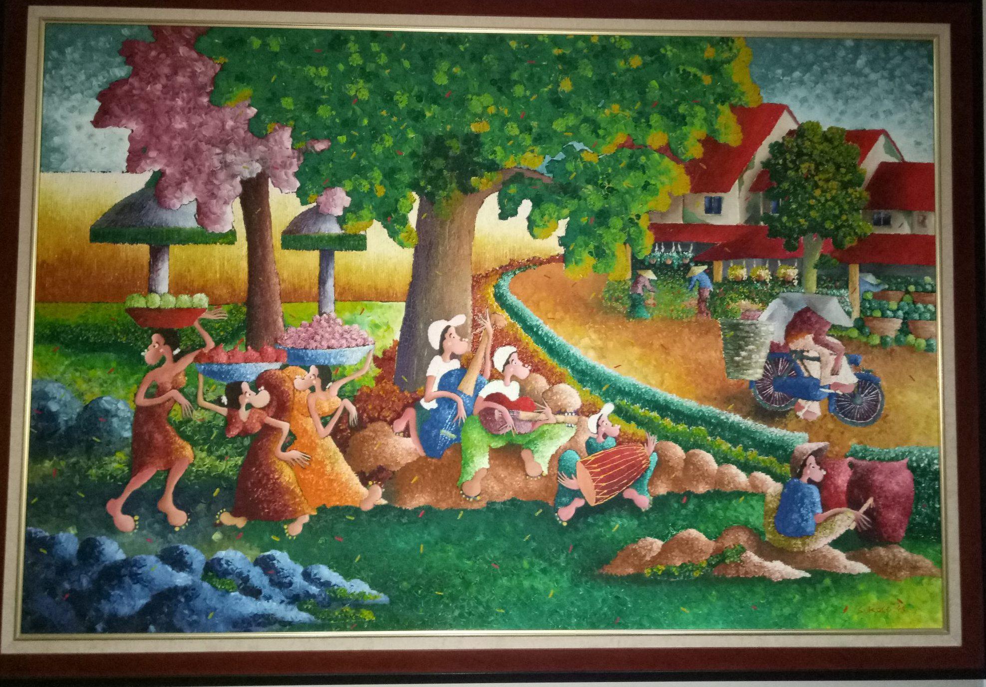 Suasana Kampung, Artist: Sukoco Wibowo (2009), oil on canvas