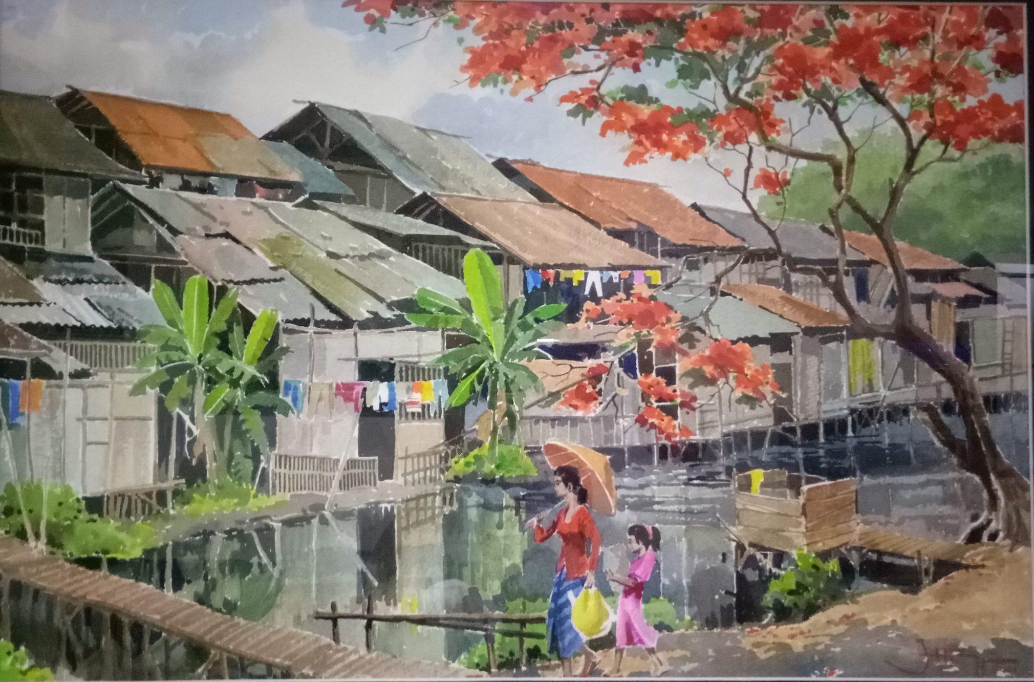 Panorama di Tepi Ciliwung, Artist: Yap Hian Tjay (2001), water color