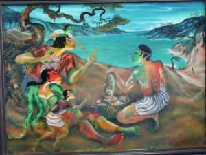 Menawarkan / menjual hasil tangkapan, Artist: Hendra Gunawan, glass painting.