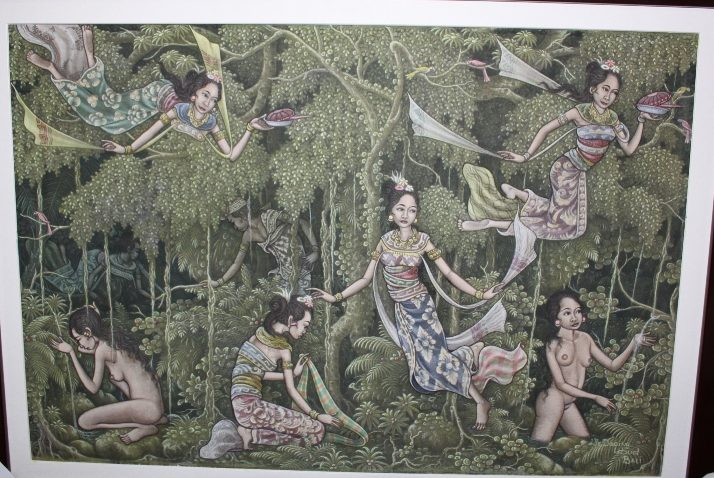 Jaka Tarub with 7 Seven Princesses, Artist : I Made Mangku Daging, acrylic on canvas.