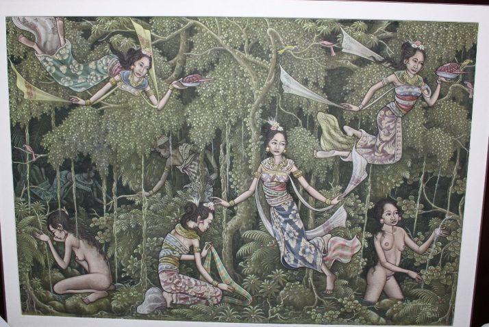 Jaka Tarub with 7 Seven Princesses, Artist : I Made Mangku Daging, acrylic on canvas.