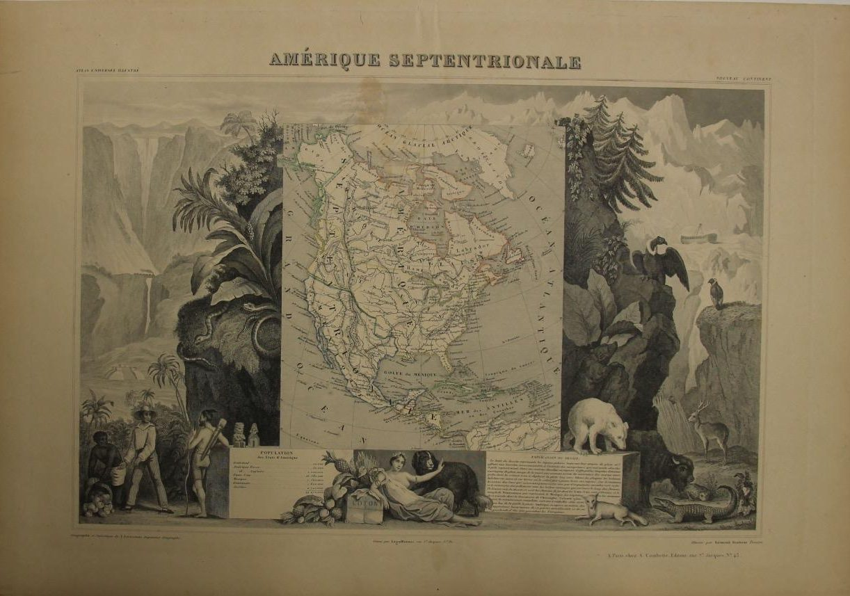 North America Map (Year: 1852) by Victor Levasseur - Original Copper Engraved Map