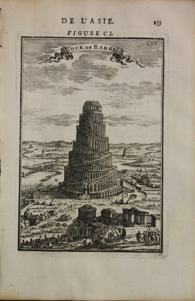 Babylon Tower Of Babel Iraq (Year : 1683) by Manesson Mallet Antique Copper Engraved