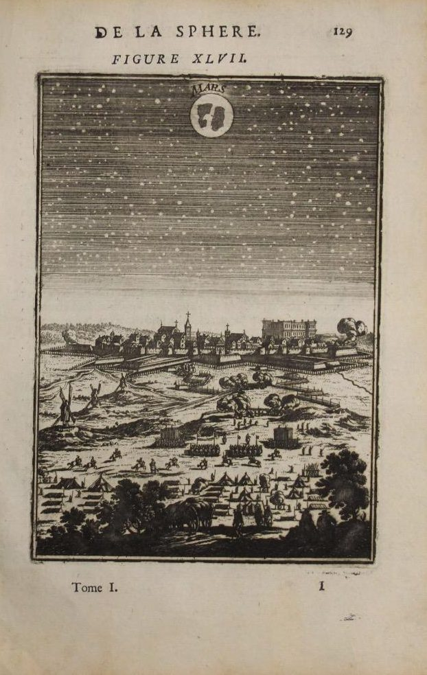 Mars Planet (Year:1683) by Manesson Mallet Antique Copper Engraved
