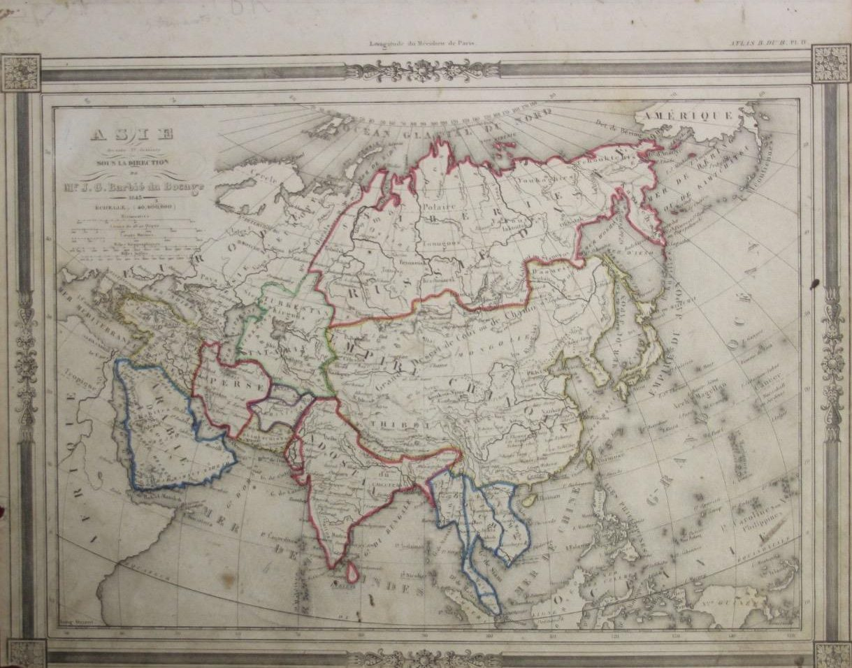 Asian Continent 1846 by J. G. Barbie du Bocage