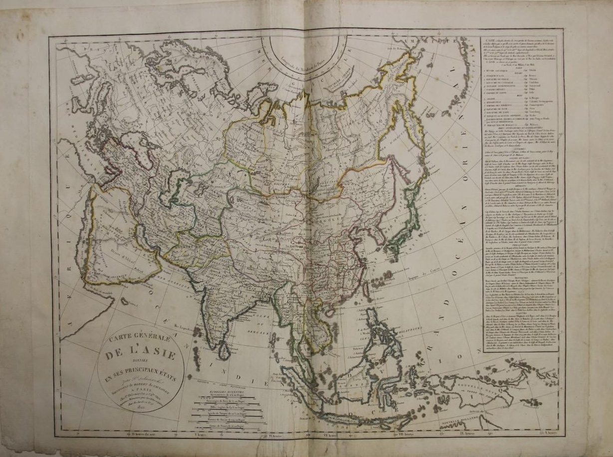 Asian Continent 1822 by Charles François Delamarche & Charles Dien - Original Copper Engraved Map