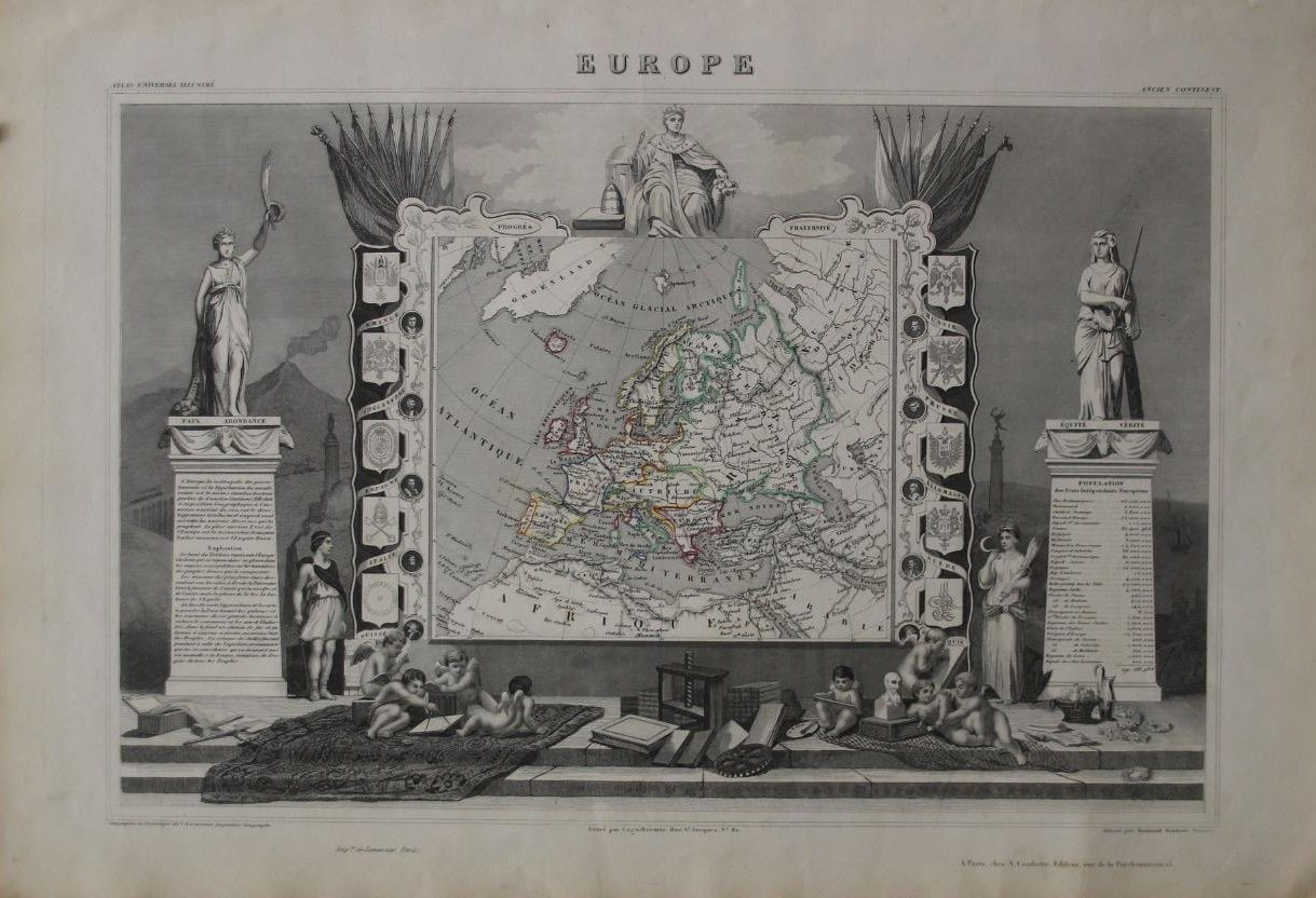 European Continent Map (Year: 1851) by Victor Levasseur - Original Copper Engraved Map